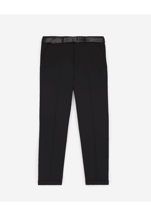 The Kooples - Black suit trousers with leather belt - MEN