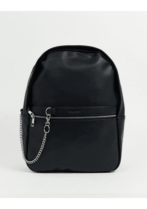 ASOS DESIGN faux leather backpack in black with silver zip and chain detail