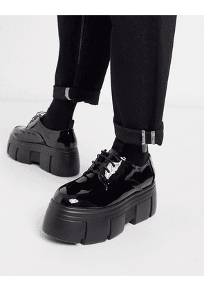 ASOS DESIGN lace up shoes in black patent faux leather with chunky platform sole