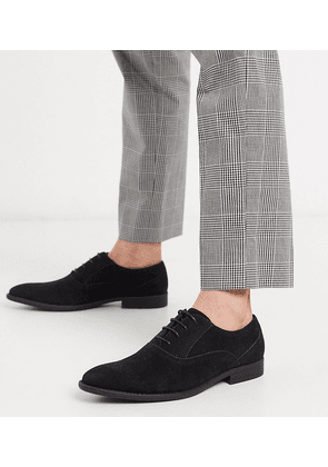 ASOS DESIGN Wide Fit oxford shoes in black faux suede