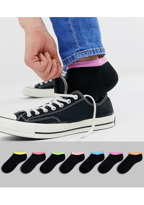 ASOS DESIGN 7 pack trainer socks with contrast tabs save-Multi