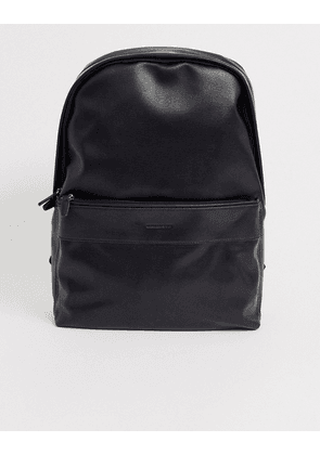 ASOS DESIGN backpack in black faux leather saffiano with branded emboss