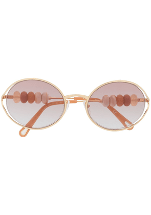Chloé Eyewear beaded oval-frame sunglasses - GOLD