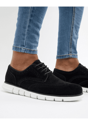 ASOS DESIGN Brogue Shoes In Black Faux Suede With Hybrid Sole