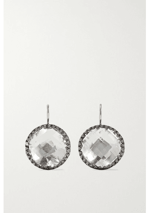 Larkspur & Hawk - Olivia Button Rhodium-dipped Quartz Earrings - Gunmetal