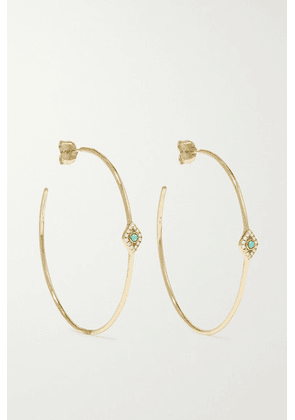 Sydney Evan - Evil Eye 14-karat Gold, Turquoise And Diamond Hoop Earrings - one size