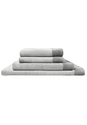 Cleverly Laundry - Set of Four Striped Cotton-Terry Bath Towels - Men - Gray