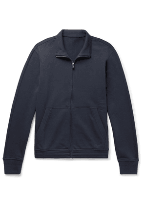 Ermenegildo Zegna - Suede-trimmed Loopback Cotton-blend Jersey Zip-up Sweatshirt - Blue