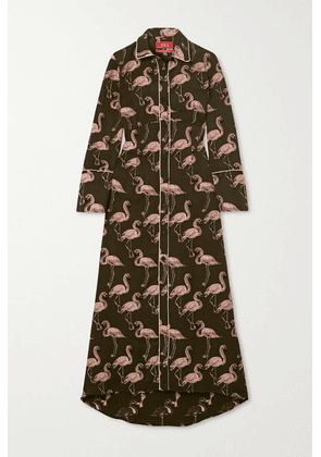 F.R.S For Restless Sleepers - Briareo Printed Flocked Satin-jacquard Maxi Shirt Dress - Army green