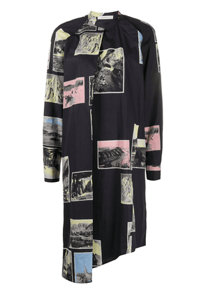 Cédric Charlier postcard print dress - Black