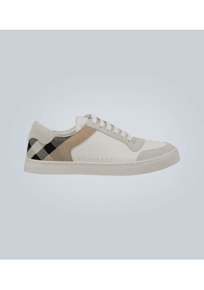 Reeth checked leather sneakers