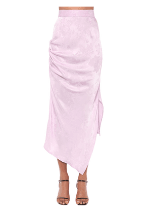 Asymmetrical Jacquard Satin Midi Skirt