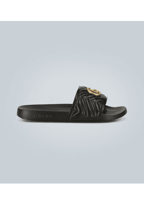 Leather slides with logo