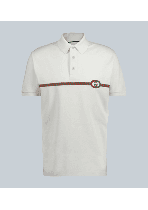 Web stripe cotton polo shirt