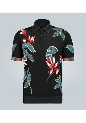 Flower intarsia knitted polo shirt