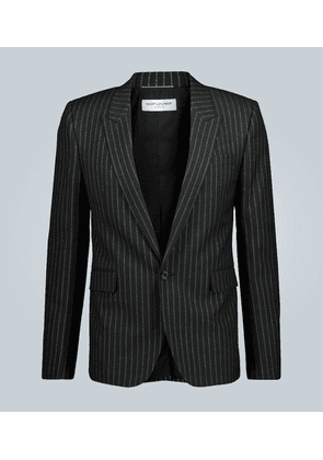 Pinstriped metallic-thread blazer