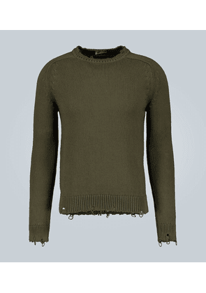Destroyed cotton knit sweater