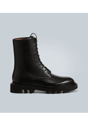 Leather ankle-high combat boots