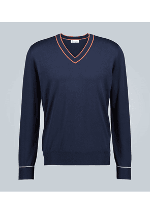 V-neck knitted cotton sweater