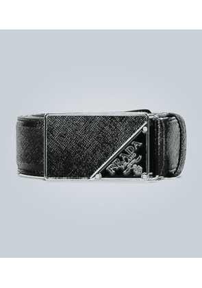Saffiano leather enamel-buckle belt