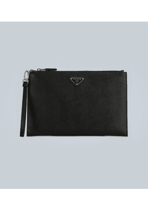 Logo-detail leather pouch