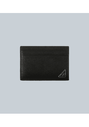 Clip leather card holder with logo
