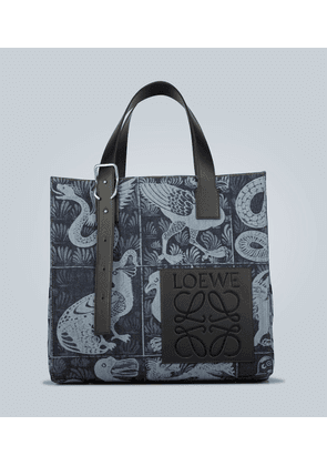 Leather-trimmed printed denim tote