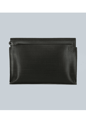 T pouch linen leather clutch bag