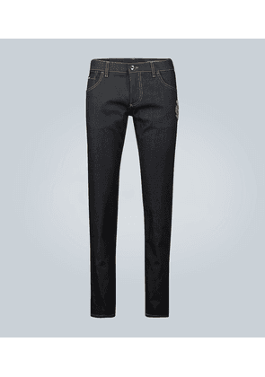 Skinny straight-leg jeans with logo