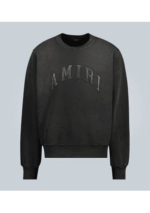 Embossed leather logo sweatshirt
