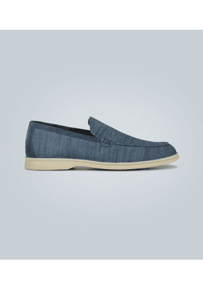 Canvas and suede-trimmed loafers