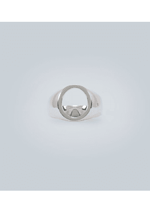 Oval open sterling silver ring
