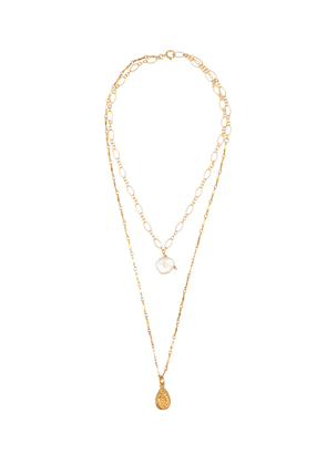 Exclusive to Mytheresa – Layers of the Sun 24kt gold-plated necklace with pearl