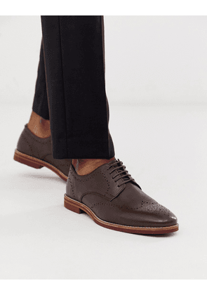 ASOS DESIGN brogue shoes in brown leather