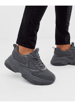 ASOS DESIGN trainers in grey mesh with chunky sole