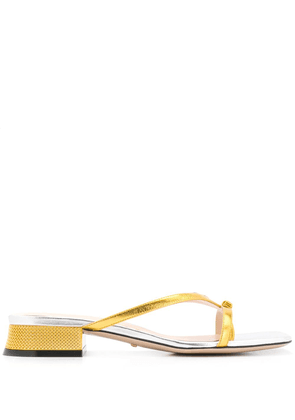 Gucci bow thong sandals - GOLD