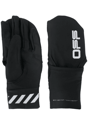 Off-White logo print gloves - Black