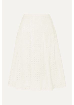 J.Crew - Kennedy Pleated Broderie Anglaise Cotton-voile Midi Skirt - Ivory