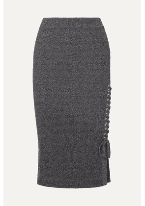 McQ Alexander McQueen - Lace-up Ribbed-knit Cotton-blend Midi Skirt - Gray