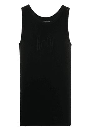Ann Demeulemeester slim-fit embroidered tank top - Black