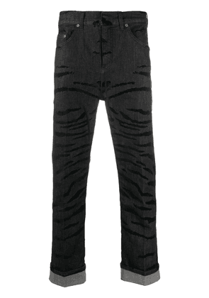 Neil Barrett straight leg tiger stripe jeans - Black