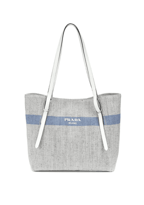 Leather-trimmed canvas shopper