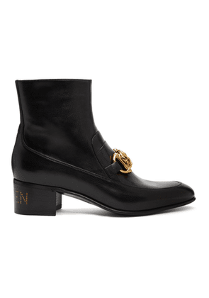 Gucci Black Kitten Horsebit Chain Boots