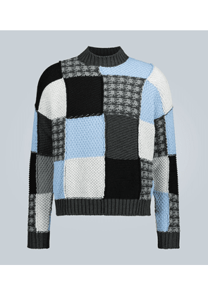 Cotton patchwork knitted sweater