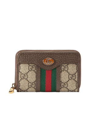 Gucci GG Zip Around Card Case In Beige Ebony in Beige Ebony - Abstract,Brown,Neutral,Stripes. Size all.
