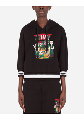 Dolce & Gabbana T-Shirts and Sweatshirts - JERSEY HOODIE WITH DG FAMILY PATCH BLACK