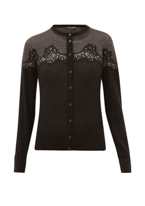 Dolce & Gabbana - Chantilly Lace And Lamé-insert Cardigan - Womens - Black Gold
