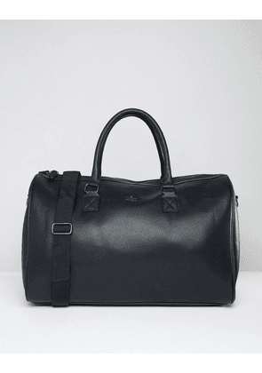 ASOS DESIGN holdall bag in black faux leather with gold branded emboss