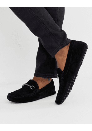 ASOS DESIGN driving shoes in black suede with snaffle