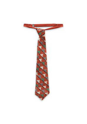 Red(v) Printed Silk-blend Crepe Necktie Woman Brick Size --